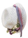 Sombrero blanco del verano de la paja Imagen de archivo libre de regalías
