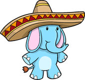 Sombrero Blue Elephant vector Royalty Free Stock Image