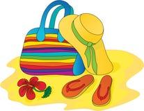 Sombrero, bolso, sandalias Fotografía de archivo libre de regalías
