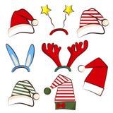 Sombrero brillante del partido de la Navidad Fije para el partido de Navidad de la cabina de la foto Asta, estrella y sombrero de ilustración del vector