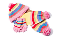Sombrero, bufanda y guantes Fotografía de archivo libre de regalías