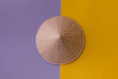 Sombrero cónico en púrpura y amarillo Foto de archivo libre de regalías
