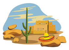 Sombrero and Cactus Stock Photography