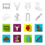 Sombrero, cactus, vaqueros, nudo en el lazo Iconos determinados de la colección del rodeo en el esquema, ejemplo de la acción del Imágenes de archivo libres de regalías