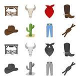 Sombrero, cactus, vaqueros, nudo en el lazo Iconos determinados de la colección del rodeo en la historieta, acción monocromática  Fotografía de archivo libre de regalías