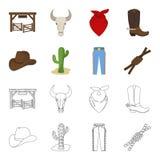 Sombrero, cactus, vaqueros, nudo en el lazo Iconos determinados de la colección del rodeo en la historieta, acción del símbolo de Fotografía de archivo libre de regalías