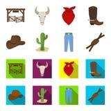 Sombrero, cactus, vaqueros, nudo en el lazo Iconos determinados de la colección del rodeo en la historieta, ejemplo plano de la a Fotografía de archivo libre de regalías