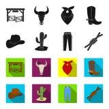 Sombrero, cactus, vaqueros, nudo en el lazo Iconos determinados de la colección del rodeo en el negro, ejemplo de la acción del s Fotografía de archivo libre de regalías