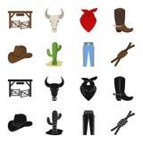 Sombrero, cactus, vaqueros, nudo en el lazo Iconos determinados en negro, acción de la colección del rodeo del símbolo del vector Fotografía de archivo libre de regalías