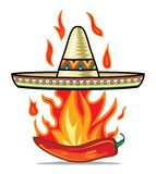 Sombrero chili pepper poster Royalty Free Stock Image