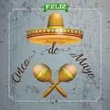Sombrero Cinco De Mayo Concrete Frame Maracas vektor illustrationer