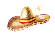Sombrero. Cinco de Mayo hat. Hand drawn watercolor illustration, isolated on white background. Sombrero. Cinco de Mayo hat. Hand drawn watercolor illustration