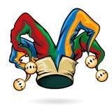 Sombrero coloreado del bufón del vector Imágenes de archivo libres de regalías