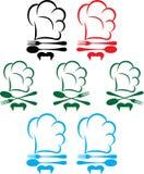 Sombrero, cuchara y bifurcación del cocinero ilustración del vector