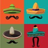 Sombrero de Cinco De Mayo y cartel del bigote ilustración del vector