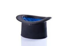 Sombrero de copa negro y azul del mago Fotografía de archivo