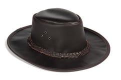 Sombrero de cuero Brimmed negro fotos de archivo
