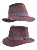 Sombrero de Fedora del fieltro del estilo de Indiana Jones aislado Imagen de archivo
