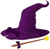 Sombrero de la bruja con el bastón libre illustration