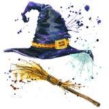 Sombrero de la bruja de Halloween y bruja de la escoba Ilustración de la acuarela Imagen de archivo