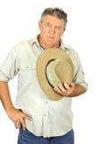 Sombrero de la explotación agrícola del hombre Fotografía de archivo