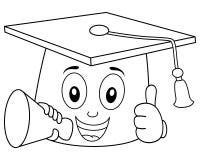 Sombrero de la graduación del colorante con el megáfono Imagen de archivo