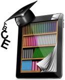 Sombrero de la graduación del estante para libros de la tablilla stock de ilustración