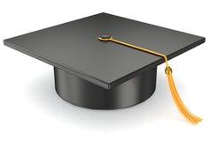 Sombrero de la graduación en el fondo blanco Fotografía de archivo