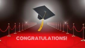 Sombrero de la graduación en el vídeo de la alfombra roja almacen de metraje de vídeo