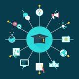 Sombrero de la graduación rodeado por los iconos de la educación Elegir concepto del curso, de la carrera o del empleo Imagen de archivo libre de regalías