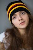 Sombrero de la muchacha del pelo del jengibre del retrato Fotografía de archivo