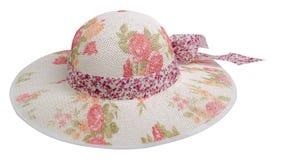 Sombrero de la mujer aislado en el fondo blanco Sombrero de la playa del ` s de las mujeres Co Foto de archivo