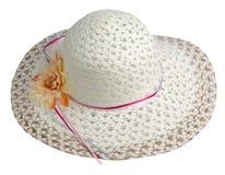 Sombrero de la mujer aislado en el fondo blanco Sombrero de la playa del ` s de las mujeres Co Fotografía de archivo libre de regalías