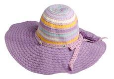 Sombrero de la mujer aislado en el fondo blanco Sombrero de la playa del ` s de las mujeres Co Imagen de archivo libre de regalías