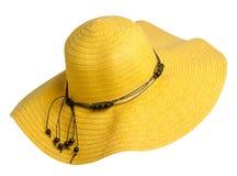 Sombrero de la mujer aislado en el fondo blanco Sombrero de la playa del ` s de las mujeres YE Imagenes de archivo