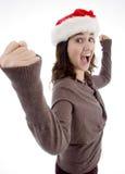 Sombrero de la Navidad del adolescente que desgasta acertado Imagen de archivo