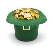 Sombrero de Leprechuan del oro del trébol foto de archivo