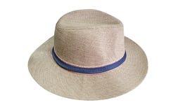 Sombrero de los hombres en blanco Fotografía de archivo