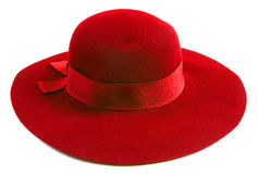 Sombrero de lujo del rojo de las mujeres Imágenes de archivo libres de regalías