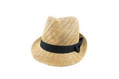 Sombrero de paja bonito con la parte delantera de la cinta en el fondo blanco Imagen de archivo libre de regalías