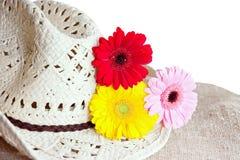 Sombrero de paja con los gerberas Foto de archivo libre de regalías