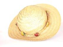 Sombrero de paja de la playa Imagen de archivo libre de regalías