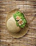 Sombrero de paja de la señora con la cinta decorativa de la flor Imagen de archivo
