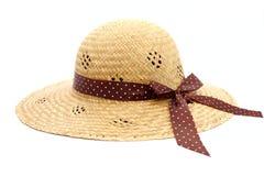 Sombrero de paja de las mujeres femeninas Imagen de archivo libre de regalías
