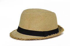 Sombrero de paja de Panamá del verano aislado en blanco Foto de archivo libre de regalías