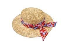 Sombrero de paja del verano aislado en blanco Imagen de archivo libre de regalías