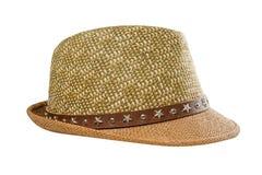 Sombrero de paja del verano aislado en el fondo blanco fotos de archivo libres de regalías