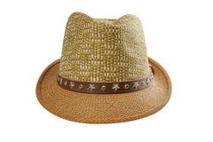 Sombrero de paja del verano aislado en el fondo blanco fotos de archivo