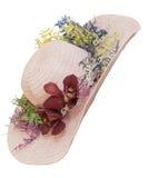 Sombrero de paja del verano con la orquídea Foto de archivo libre de regalías