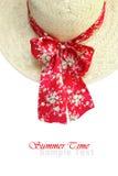 Sombrero de paja del verano de la señora Imágenes de archivo libres de regalías